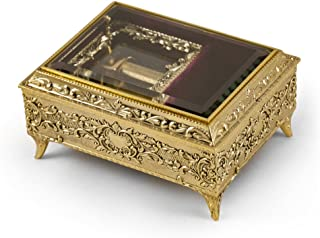 Ornate Gold Engraved Ornament Body with Glass Panel Top 30 Note Music Box - Many Songs Available - I was Born to Love You