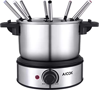 Electric Fondue Maker 6 Cup Stainless Steel Electric Fondue Pot with Temperature Control, 8 Color Fondue Forks and Removable Pot for Chocolate, Caramel, Cheese and Sauces, Aicok