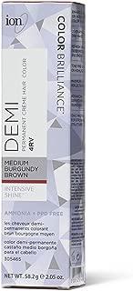 Ion Intensive Shine 4RV Medium Burgundy Brown Demi Permanent Creme Hair Color 4RV Medium Burgundy Brown