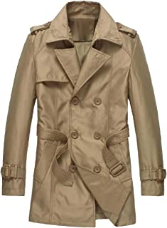 Howme-Men Utility Longline Double-Breasted Trench Coat with Belt