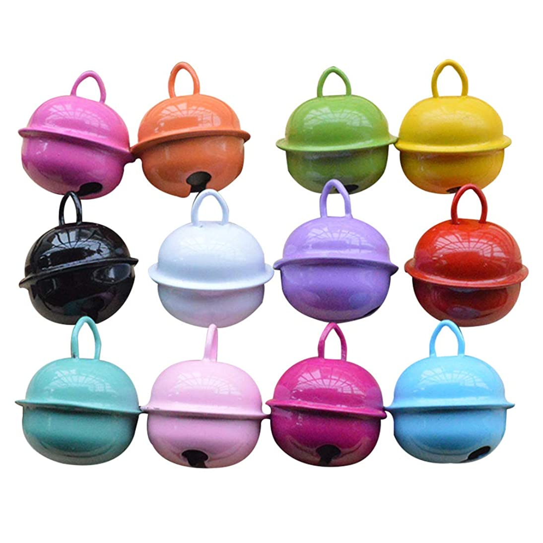 Vosarea Christmas DIY Crafts,30pcs 22mm Colorful Painted Jingle Bell Metal Round Mini Bells Jewelry Ornaments Xmas Decor Pendants for Party