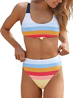 Two Piece High Waisted Bathing Suit Striped Bikini Set Swimsuits for Women High Cut Sports Suits