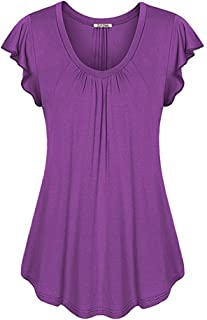 ZJFZML Women's Round Neck Short Ruffle Sleeve Pleated Front Casual Tunic Shirts