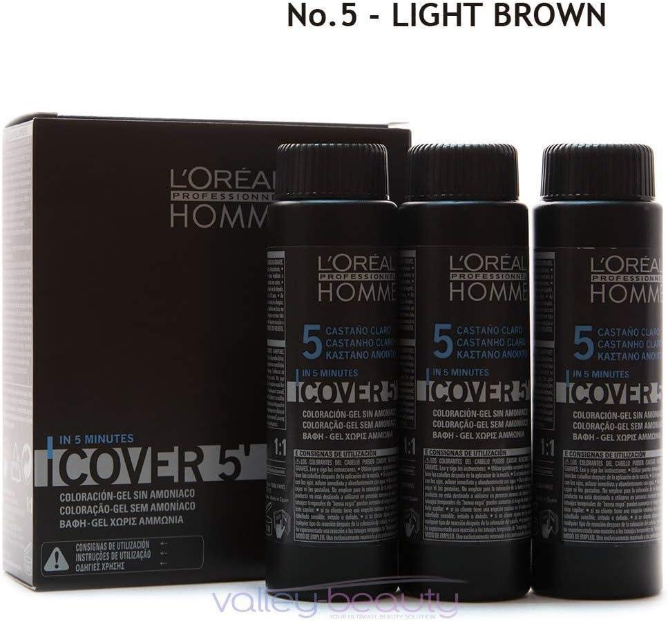 LOréal Professionnel Gel de coloración Sin amoníaco Marrón claro 3 x 50 ml