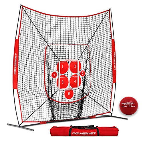 PowerNet Pitch Perfect Targets, Practice 8x8 Net and Strike Zone Attachment Bundle | Baseball Softball Pitching Trainer | 3 Size Target Set | Increase Pitching Throwing Accuracy Location Strikes