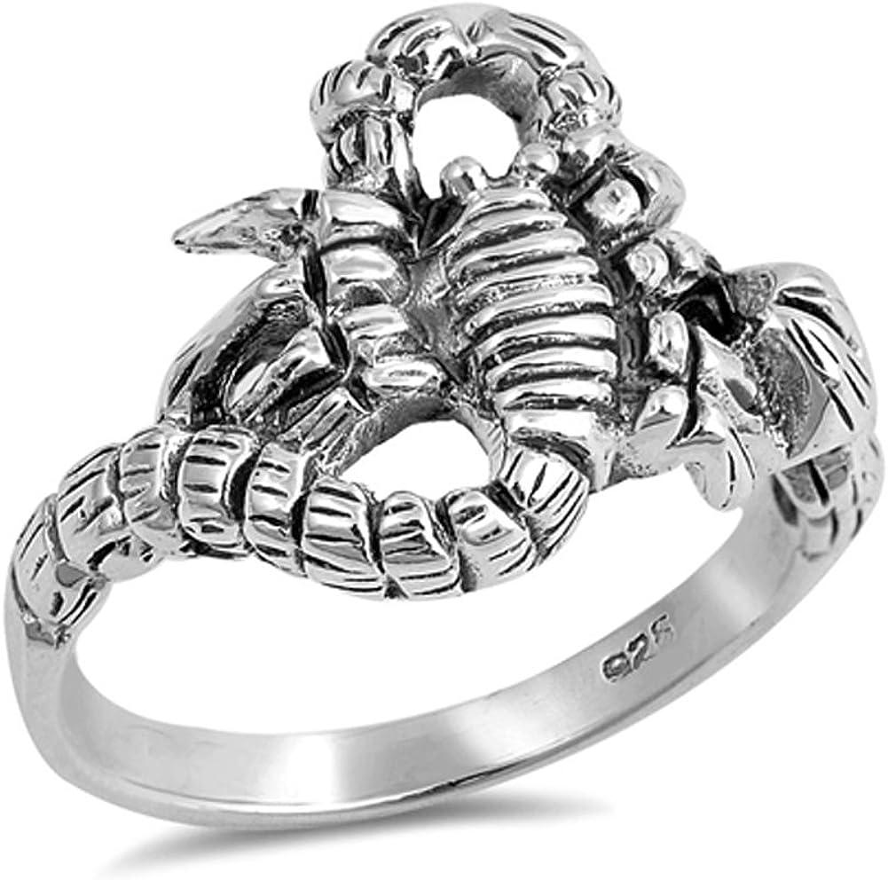Oxidized Scorpion Dangerous Animal Biker Ring Sterling Silver Ba