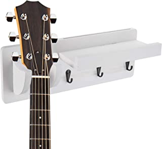 Suwimut Guitar Wall Hanger, Wood Guitar Holder Wall Mount Bracket Hanging Rack with Pick Holder and 3 Hook, White
