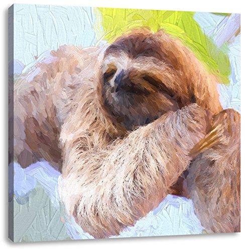 Pixxprint Faultier hängt von AST als Leinwandbild | Größe: 70x70 cm | Wandbild | Kunstdruck | fertig bespannt