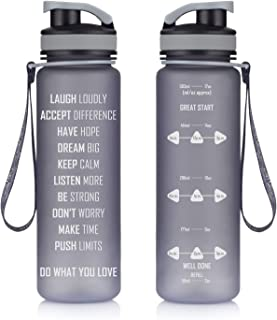 Artoid Mode 17oz Motivational Fitness Workout Sports Water Bottle with Time Marker & Measurements, Goal Marked Times Helps You Hydrate, Flip Top Non Leak Design and BPA Free