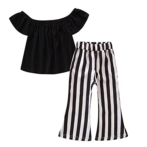 Toddler Kids Baby Girl Clothes Summer Off Shoulder Tops T-shirt Crop Tank Tees