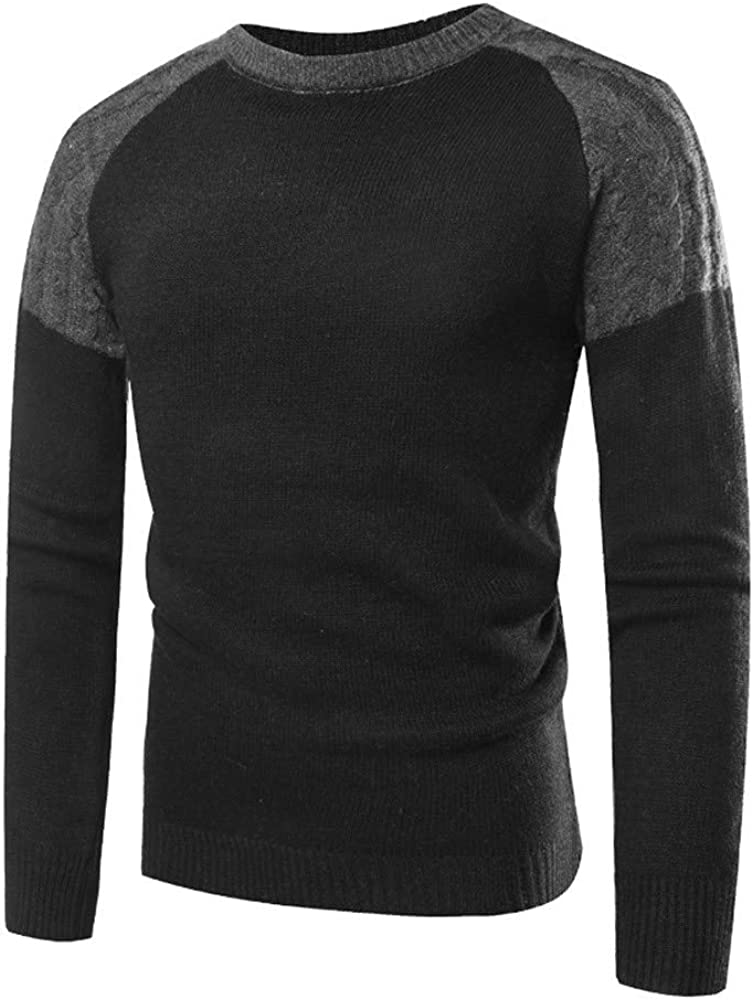 AKIMPE Men Autumn Winter Pullover Knitted Top Patchwork Sweater Outwear Blouse