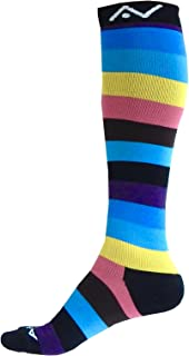 Compression Socks (1 pair) for Women & Men by A-Swift,Cool Rainbow,L-XL