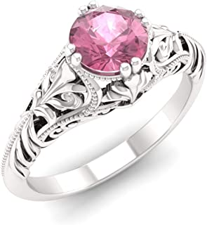 art deco pink tourmaline ring