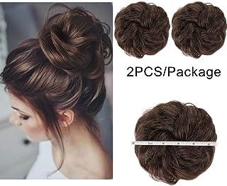 AISI QUEENS 2PCS Messy Bun Hair Piece 100% Human Hair Scrunchies Buns Hair Pieces for Women Curly Wavy Black Bun Elegant Chignons Wedding(Color:Brown)