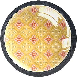 Juego de 4 pomos para armario de cocina diseño de ilustración amarilla tiradores redondos para cajones y aparadores col...
