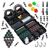 Dr. Fish. Caja de equipo de pesca con 219 piezas, aparejos, plomo, anzuelos, clips, sacavueltas, tubos, cuentas, accesorios, Green Brown