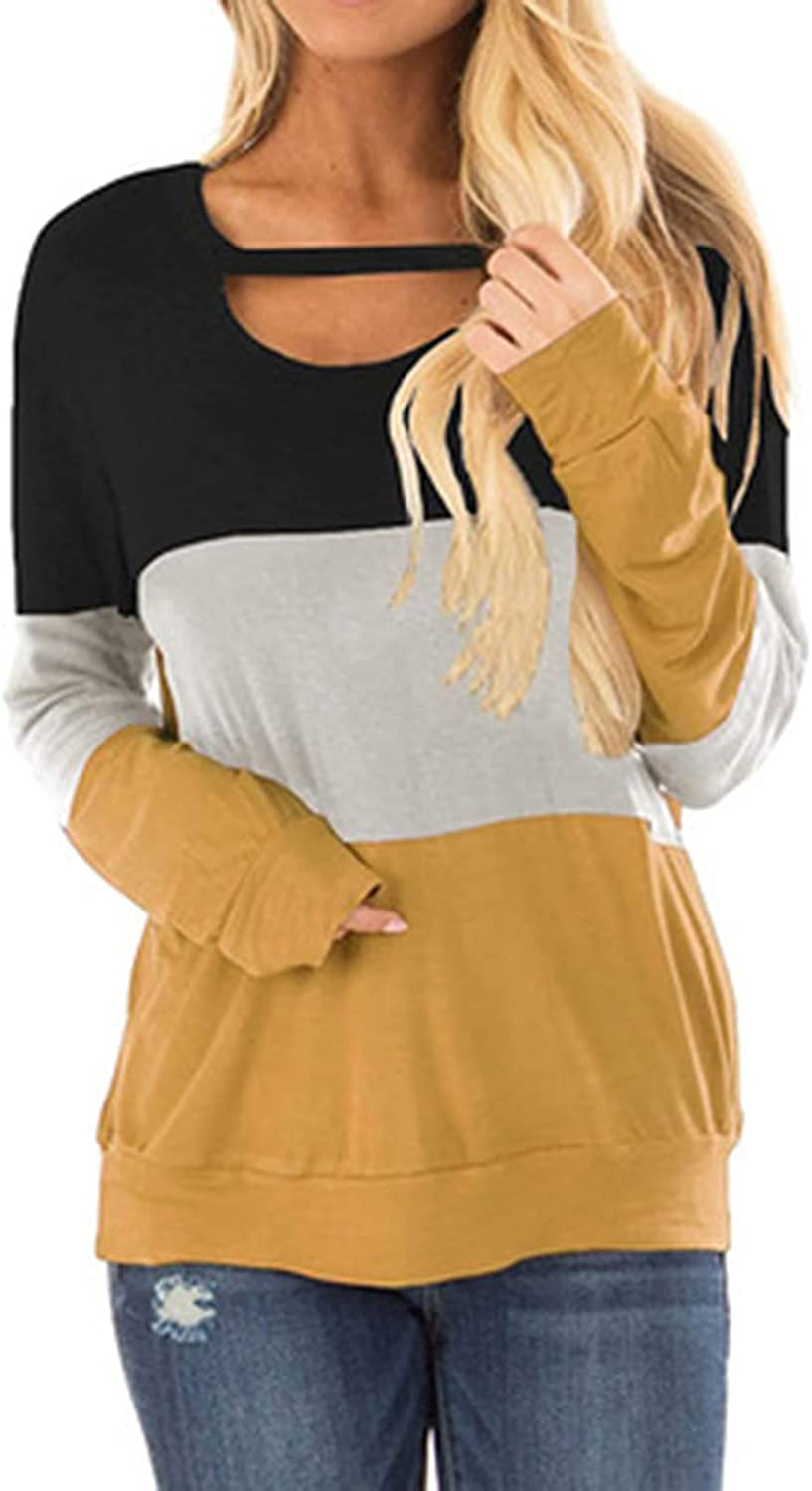 Women's Plus Size Casual Long Sleeve Pullover Hoodies Striped Color Block Knitted Sweater Crew Neck Loose Jumper Tops