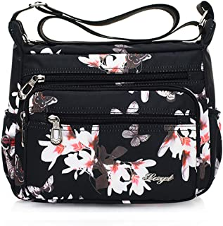 Womens Nylon Floral Shoulder Bag Crossbody Bag Messenger Bags Travel Handbags With Adjustable Strap Waterproof