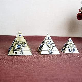 PROW Metal Egyptian Pyramids Figurine Replica 3 Piece Set, Egyptian Pyramid Display Statue Ancient Art Building Model for Desktop Decoration Souvenir Gift Sculpture