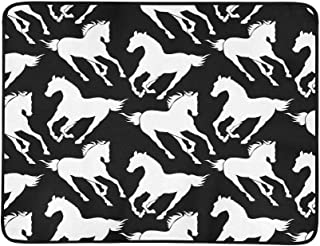 Silhouettes of Galloping Horse Black and White S Pattern Portable and Foldable Blanket Mat 60x78 Inch Handy Mat for Camping Picnic Beach Indoor Outdoor Travel