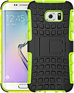 Protective Case Compatible with Samsung Compatible Samsung Galaxy S7 / G930 2 in 1 Double Colored Tire Texture Combination Case with Separable Black Holder Phone case (Color : Green)