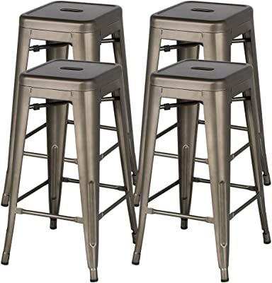 Terrific Amazon Com Dhp Luxor Metal Counter Stool With Wood Seat And Gmtry Best Dining Table And Chair Ideas Images Gmtryco
