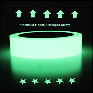 Hylaea Glow in The Dark Tape, 20 feet x 1 Inch, Luminous Tape Sticker, Luminescent/Photoluminescent/Roll Safety,Egress Markers Stairs,Walls,Steps,Exit,Sign, Glowing Pro Theatre Stage Floor