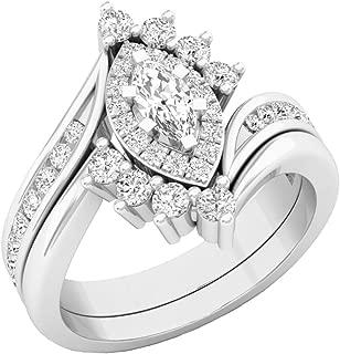 1.00 Carat (ctw) 10K Gold Marquise & Round Diamond Bridal Engagement Ring Set 1 CT