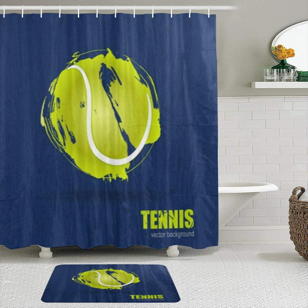 ZOMOY Shower Purchase Curtain NEW before selling Tennis Ball 2pcs Waterproof Hooks Set with