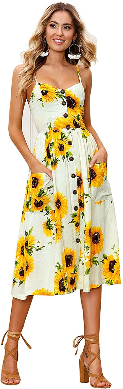 Sxkayxr Summer Sunflower Dress for Women Casual Swing Floral Bohemia Dresses V Neck with Pockets