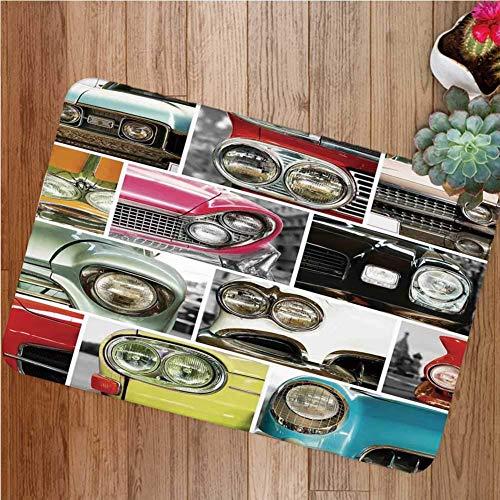 1960er Jahre Dekorationen Gummiunterlage Rutschfeste Fußmatten, Oldtimer Retro Auto Collage Stoßstange und Scheinwerfer Klassische Old Style City Fahrzeug Dekorative Fußmatte Fußmatten Teppiche