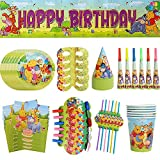 Birthday Party Decoration,CYSJ 63 pcs Winnie The Pooh Party Pack for,Winnie The Pooh Theme Kids Baby Shower Gender Reveal Birthday Party Decoration Party Supplies,Plates Cups Napkins Banners