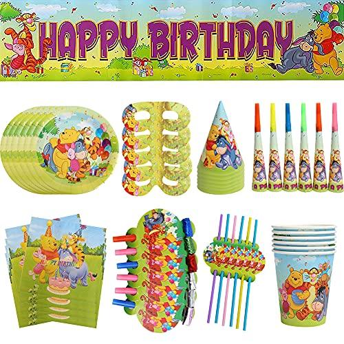 CYSJ Set de Fiesta de Cumpleaños de Winnie The Pooh, 63 Pcs Juego de Cubiertos de Winnie The Pooh,Juego de Suministros para Fiesta de Pancarta de cumpleaños,Cumpleaños Vajilla Set
