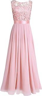 iEFiEL Damen Kleid Festliche Kleider Brautjungfer Hochzeit Cocktailkleid Chiffon Faltenrock Elegant Langes Abendkleid Partykleid