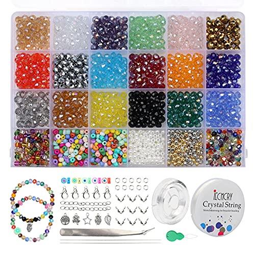 Shorant 1500 Pezzi Perline Cristallo Sfaccettato 18 Colori Perline di Vetro 6mm con Scatola per Bigiotteria Fai da te per Braccialetti, Collane, Gioielli Regalo per Donne Ragazze