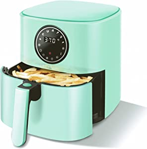 CROWNFUL 5 Quart Air Fryer, Electric Hot Oven Oilless Cooker,LCD Digital Touch Screen with 7 Cooking Presets and 53 Recipes, Nonstick Basket,1500W ETL Listed (Green)
