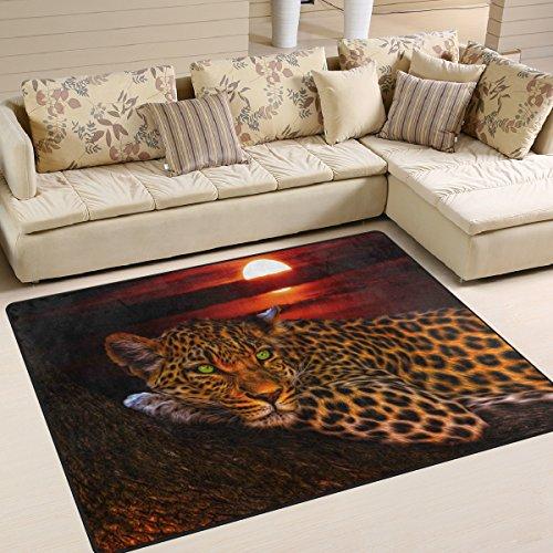 yibaihe Große Fläche Teppiche Leopard im Sonnenuntergang gedruckt, leicht rutschfeste antistatisch wasserabweisend Boden Teppich für Wohnzimmer Schlafzimmer Home Deck Terrasse,203 x 147 cm