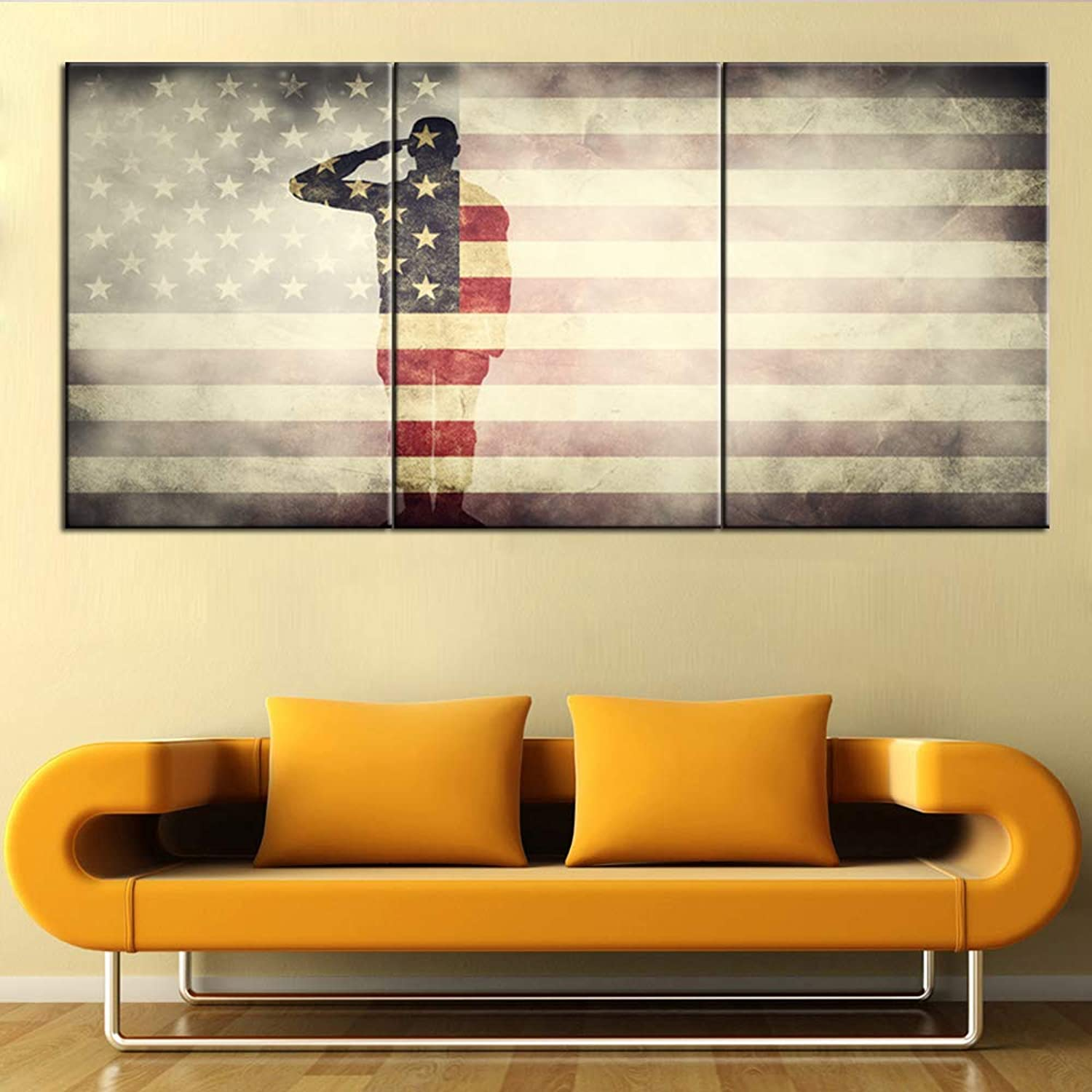 Native American Art Wall Decor USA Flag Paintings 3 Panel Stars Stripes Retro Artwork for Living Room Patriotic Pictures on Canvas House Decoration Framed Gallery-Wrapped Ready to Hang(42''Wx20''H)
