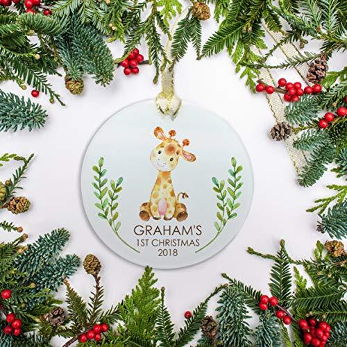 For367Walton Babys First Christmas Ornament Personalized Ornament Giraffe Ornament Watercolor Ornament Babys 1st Christmas 2018 Ornament Gift