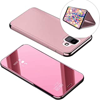 Electroplate Mirror Flip Case for Redmi Note 4X,DasKAn Smart Clear View Window Plating Hard PC Phone Cover Slim Folio Hybrid Kickstand Full Body Protective Case for Xiaomi Redmi Note 4X,Rose Gold