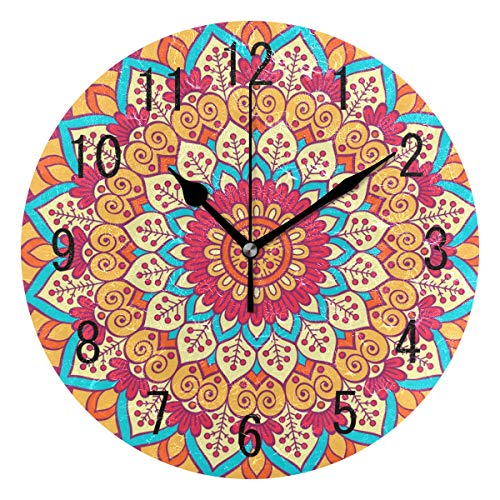 Use7Home Decor Indischen Mandala Blume Rund Acryl Wanduhr Geräuschlos Silent Uhr Kunst für Wohnzimmer Küche Schlafzimmer