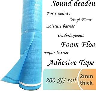 Underlayment for Laminate Flooring 3in1 Vapor Barrier Flooring Underlayment w/Overlap & Tape 200sq.ft/roll Moisture Barrier Underpad Underlay for Laminate Flooring, Hardwood Floor, Vinyl Floor. 2mm