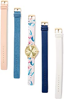 Laura Ashley Womens LASS1102YG Gold Mirror Dial Case Floral Strap Watch Set Interchangeable Straps