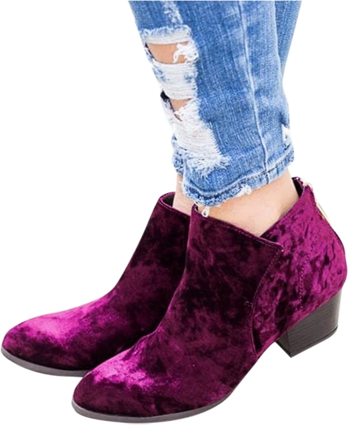 WomenAnkle Easy-to-use Boots SALENEW very popular! Slip on Chunky Heel Short B Chelsea