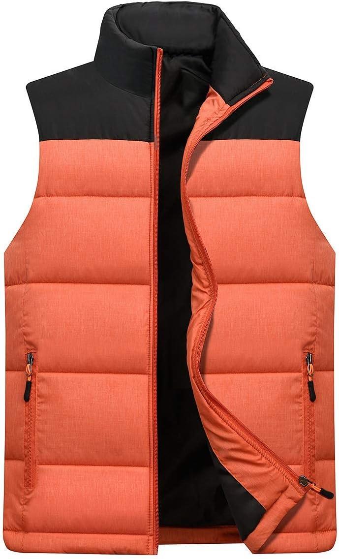 Vest Women Spring Autumn Men Vest Sleeveless Jacket for Men Fashion Warm Male Winter Vest Light Plus Size Mens Work Vests Waistcoat Vest Warm (Color : Orange, Size : XXXL)