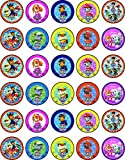 30 x Edible Cupcake Toppers – Paw Patrol Dogs Themed Collection of Edible Cake Decorations   Uncut Edible on Wafer Sheet