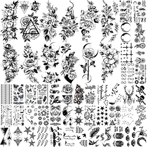 JOEHAPY 56 Sheets DIY Black Flower Temporary Tattoos For Women Girls Neck Arm Waterproof Fake Tattoo Stickers For Kids Boys Girls Adults Moon Rose Peony Floral Small Tatoo Sets Birds Butterfly Star