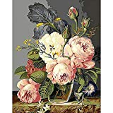 paint by numbers adult DIY Digital Oil Painting by Numbers Handwork Gift Set of Floral Flowers Pattern on Cloth Print Decoration for Home Livi-Sin marco40X50cm