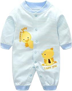 Pyjama Bébé Filles Garçons Combinaisons en Coton Grenouillères Bodys à Manches Longues, 6 mois,Canard Bleu