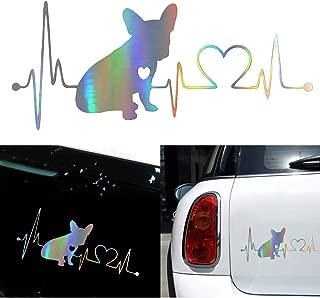 OUYAWEI Decal French Bulldog Heartbeat 3D Vinyl Car Window Bumper Sticker Auto Accessories
